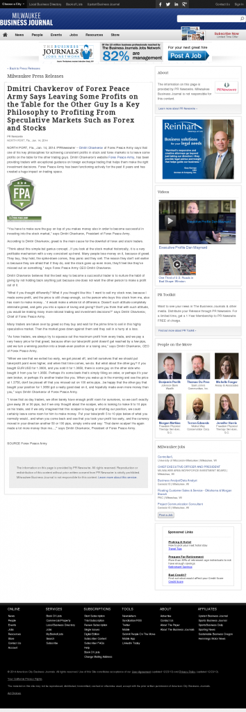 Dmitri Chavkerov   Speculator Attitude -Business Journal of Greater Milwaukee- Greed Factor
