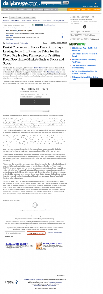Dmitri Chavkerov | Speculator Attitude -Daily Breeze (Torrance, CA)- Greed Factor