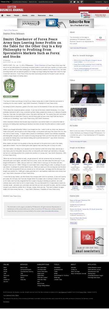 Dmitri Chavkerov | Speculator Attitude -Dayton Business Journal- Greed Factor