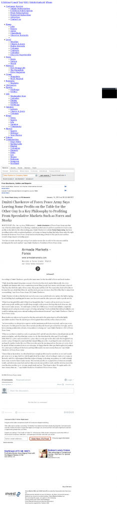 Dmitri Chavkerov | Speculator Attitude -Fayetteville Observer- Greed Factor