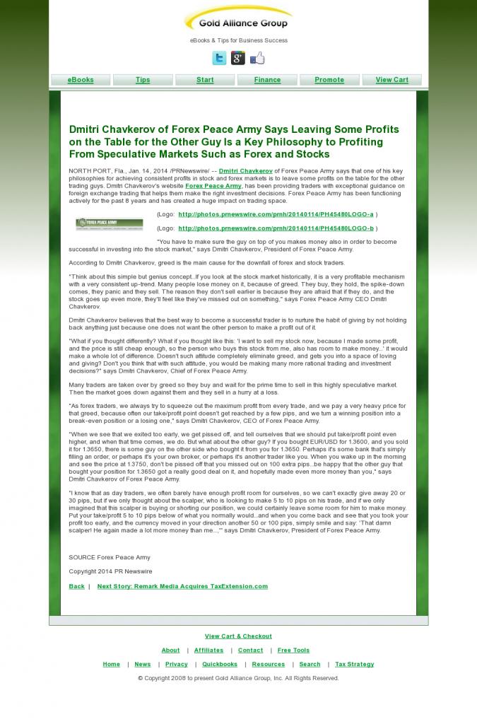 Dmitri Chavkerov | Speculator Attitude -Gold Alliance Group- Greed Factor