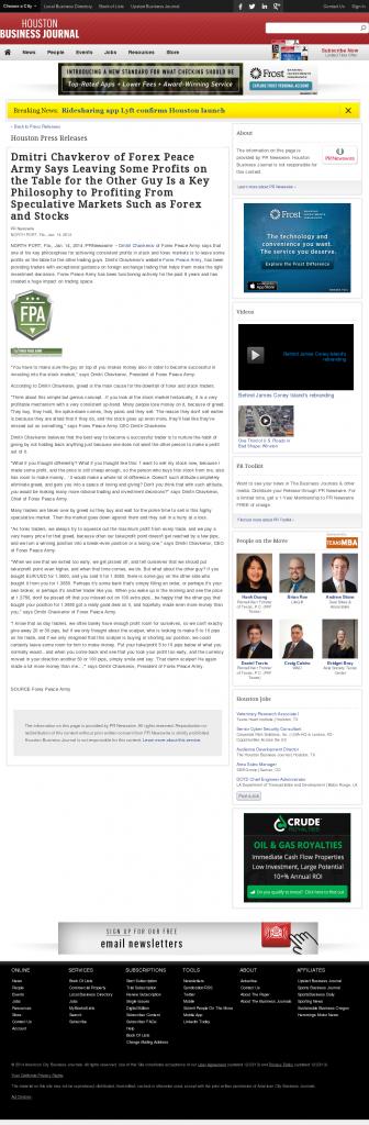 Dmitri Chavkerov | Speculator Attitude -Houston Business Journal- Greed Factor