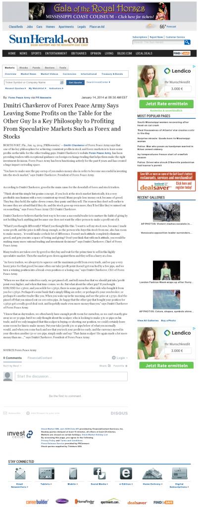 Dmitri Chavkerov | Speculator Attitude -Sun Herald (Biloxi, MS)- Greed Factor
