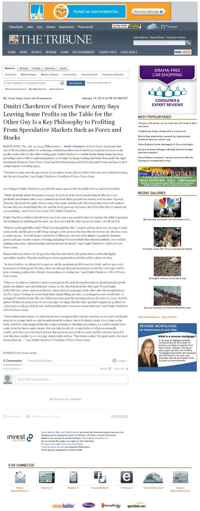 Dmitri Chavkerov | Speculator Attitude -Tribune (San Luis Obispo, CA)- Greed Factor
