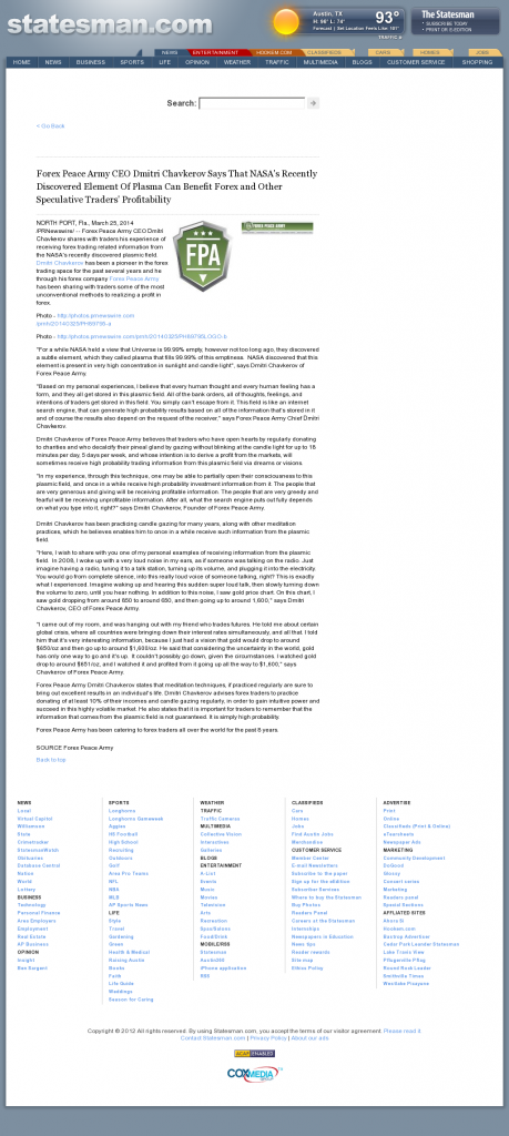 Forex Peace Army | Benefits of Plasma-Austin American-Statesman (Austin, TX)- Forex Trading