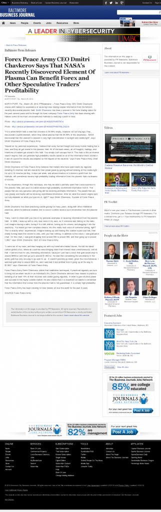 Forex Peace Army | Benefits of Plasma-Baltimore Business Journal- Forex Trading