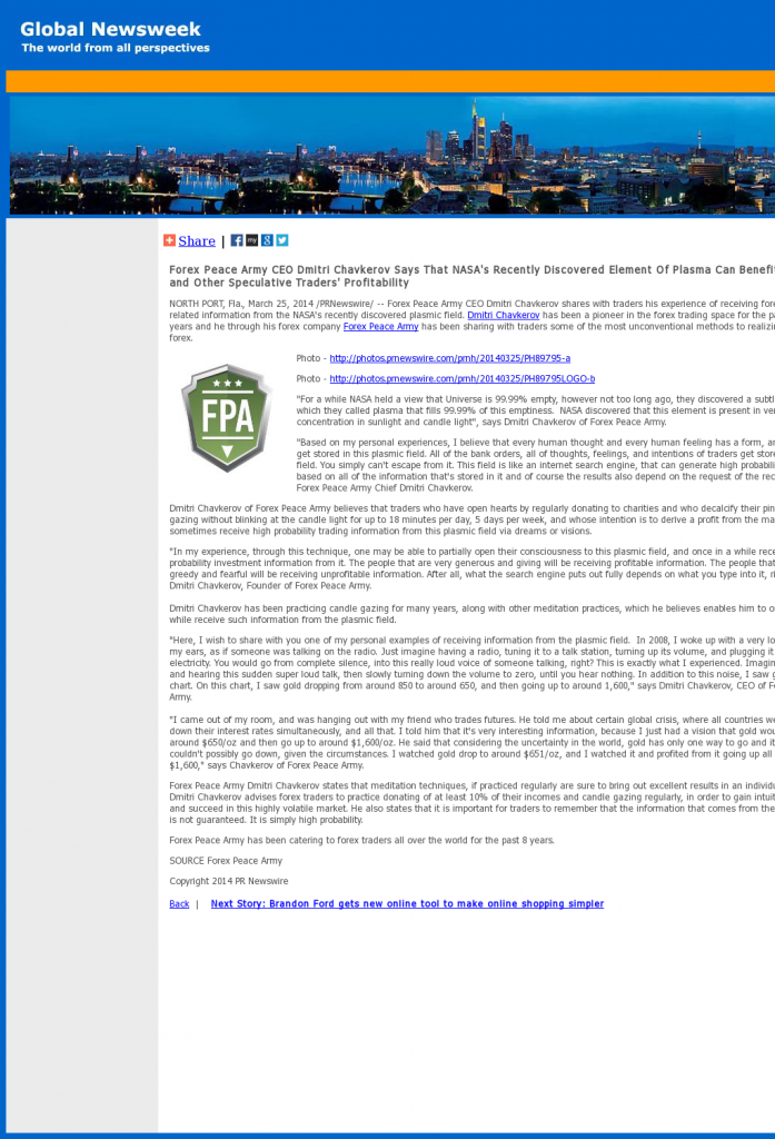 Forex Peace Army | Benefits of Plasma-Global Newsweek- Forex Trading