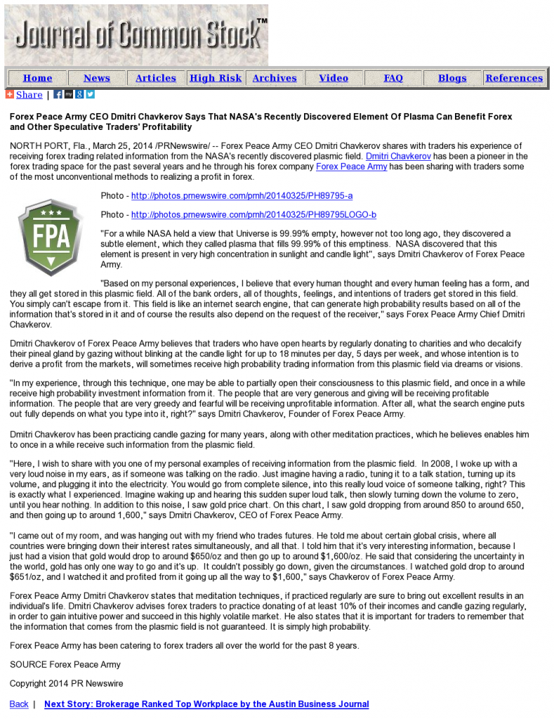 Forex Peace Army   Benefits of Plasma-Journal of Common Stock- Forex Trading
