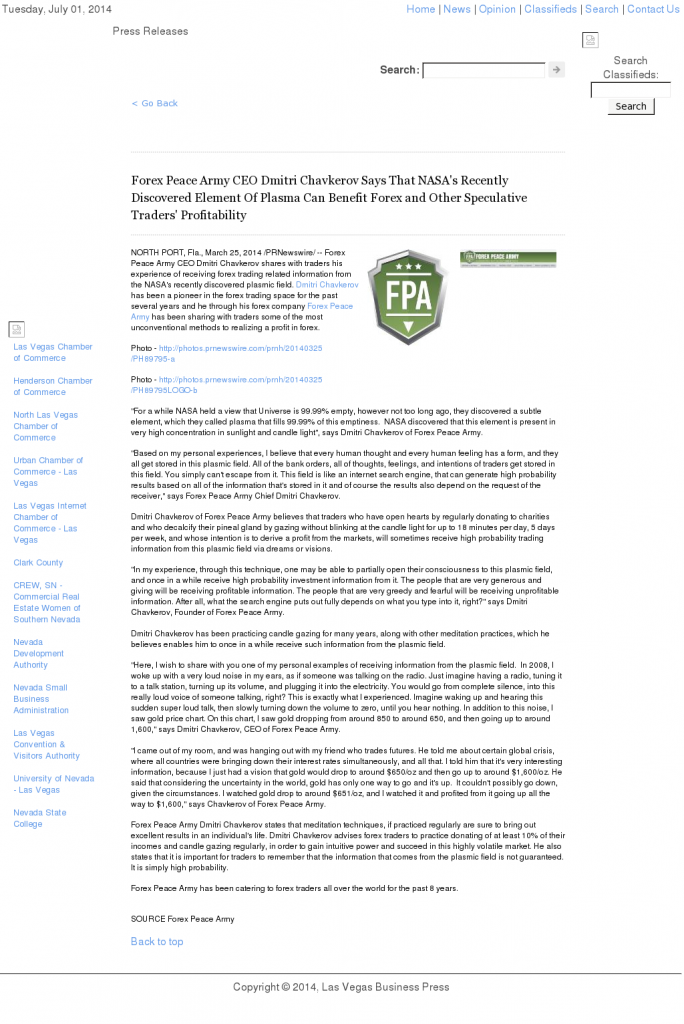 Forex Peace Army   Benefits of Plasma-Las Vegas Business Press- Forex Trading