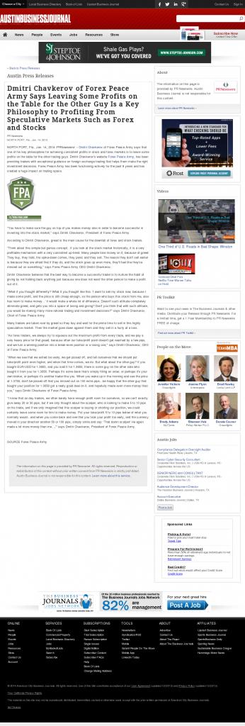 Dmitri Chavkerov | Speculator Attitude -Austin Business Journal- Greed Factor