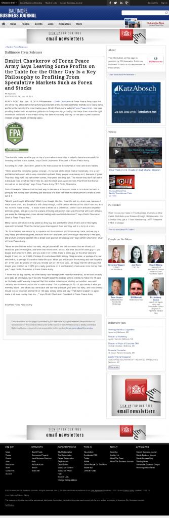 Dmitri Chavkerov | Speculator Attitude -Baltimore Business Journal- Greed Factor