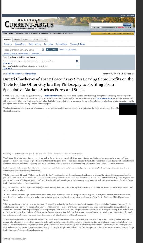 Dmitri Chavkerov | Speculator Attitude -Carlsbad Current-Argus (Carlsbad, NM)- Greed Factor