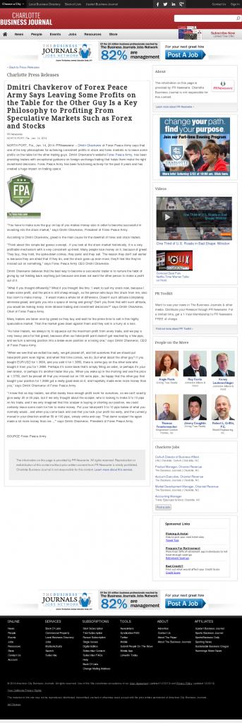 Dmitri Chavkerov | Speculator Attitude -Charlotte Business Journal- Greed Factor
