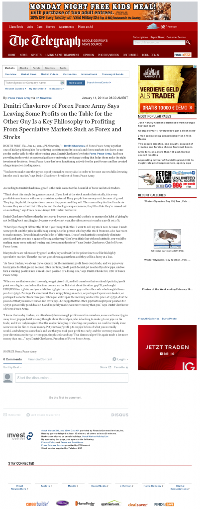 Dmitri Chavkerov | Speculator Attitude -Telegraph-Macon (Macon, GA)- Greed Factor
