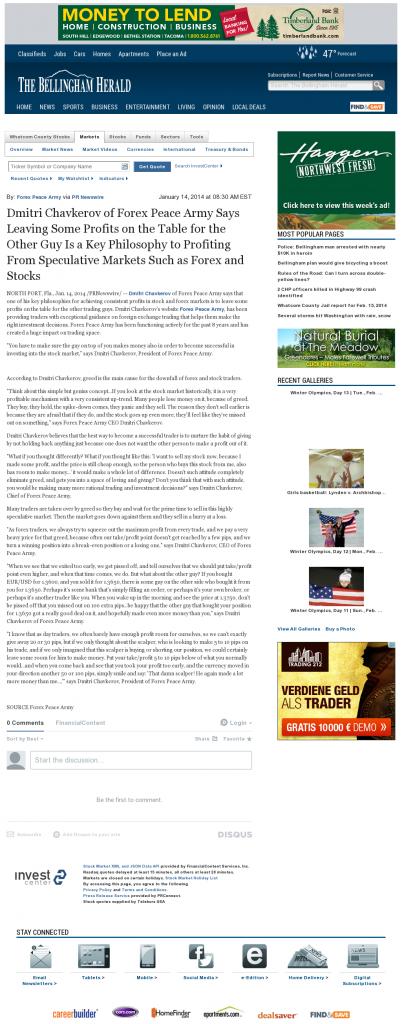 Dmitri Chavkerov | Speculator Attitude -The Bellingham Herald- Greed Factor