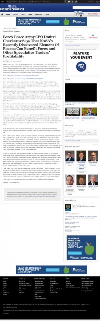 Forex Peace Army | Benefits of Plasma-Atlanta Business Chronicle- Forex Trading