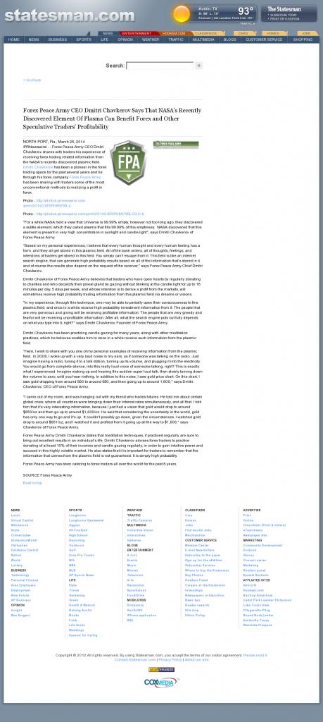 Forex Peace Army   Benefits of Plasma-Austin American-Statesman (Austin, TX)- Forex Trading