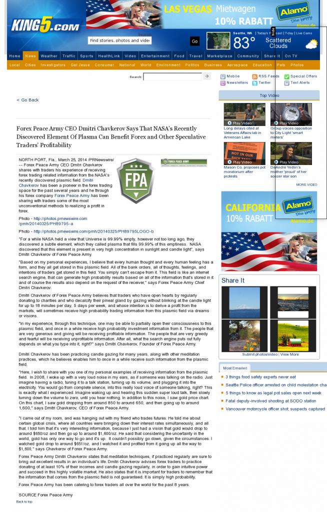 Forex Peace Army   Benefits of Plasma-KING-TV NBC-5 (Seattle, WA)- Forex Trading