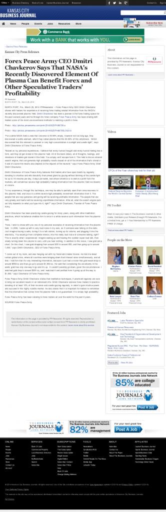 Forex Peace Army | Benefits of Plasma-Kansas City Business Journal- Forex Trading