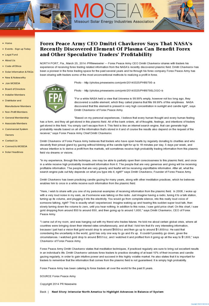Forex Peace Army   Benefits of Plasma-Missouri Solar Energy Industries Association [MOSEIA]- Forex Trading