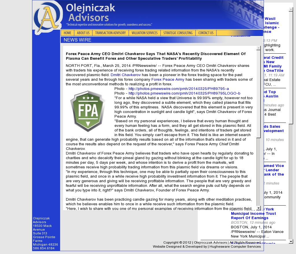 Forex Peace Army   Benefits of Plasma-Olejniczak Advisors- Forex Trading