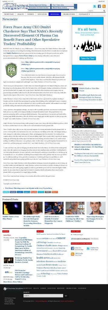 Forex Peace Army   Benefits of Plasma-Outcome Magazine- Forex Trading