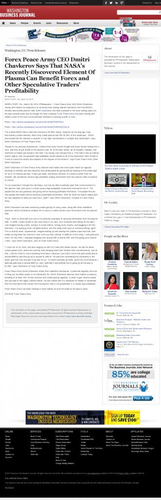 Forex Peace Army   Benefits of Plasma-Washington Business Journal- Forex Trading