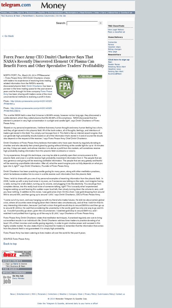 Forex Peace Army | Benefits of Plasma-Worcester Telegram & Gazette- Forex Trading